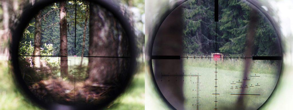Siktbild i Kahles K624i med 6x samt 24x förstoring. Avstånd till mål: 500 meter. Målets mått: Cirka 40x40 cm. Reservation för oskärpa då fotot är taget med kamera genom linsen.
